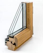 Дерево-алюминиевые окна из сосны с Европы Караганда